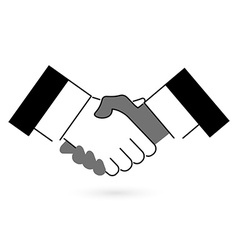 Gray and black handshake icon flat style vector image
