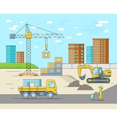 House building in thin line flat style vector image vector image