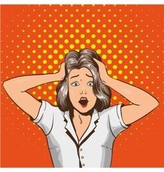 Woman in panic in pop art vector image vector image