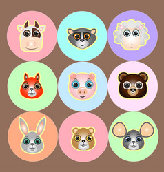 woods and farm animals faces icon set vector image
