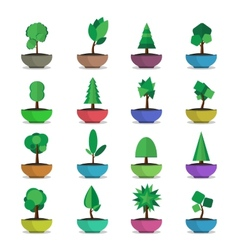 bonsai trees icons set japanese style vector image