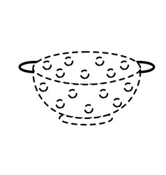 Dotted shape colander kitchen utensil object to vector