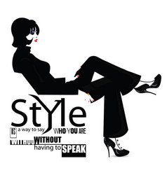 fashion quote with fashion woman vector image