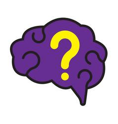 flat color brain icon vector image