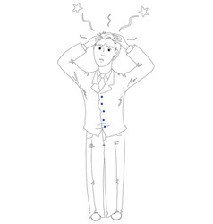frustrated businessman holding his head vector image