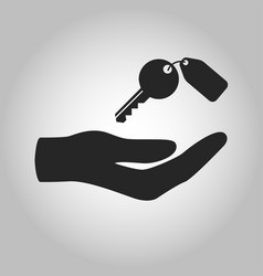 icon hand holding key isolated vector image vector image