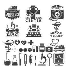 symbols of medicine medical logos and badges vector image vector image
