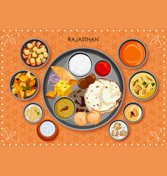 traditional rajasthani cuisine and food meal thali vector image