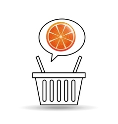 basket market sweet orange icon design vector image vector image