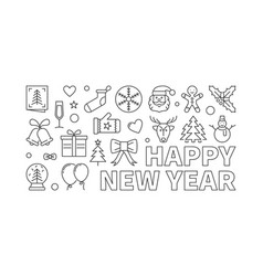 happy new year horizontal banner in thin vector image vector image