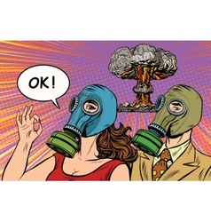 Nuclear war retro pop art poster military vector image