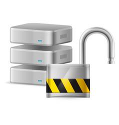Open padlock - computer security concept on white vector