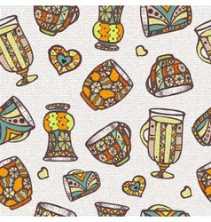 Seamless pattern with cup vector