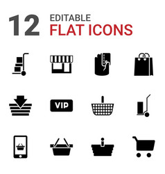 12 shopping icons vector image