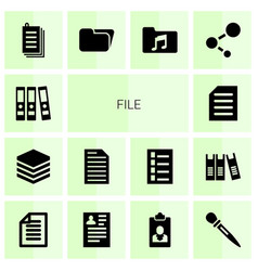 14 file icons vector image