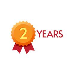 2 years anniversary icon badge label golden orange vector