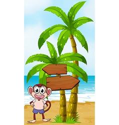 A beach with monkey near the arrow signages vector