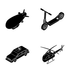 a dirigible a children s scooter a taxi a vector image