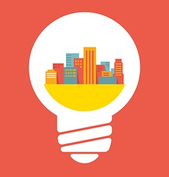 a large city in lightbulb vector image