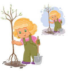 A little girl planting a vector