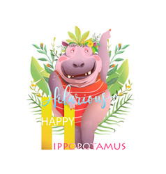 Animal abc letter h is for hilarious hippopotamus vector