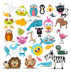 Animals set animal collection isolated on white vector