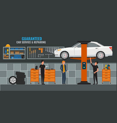 Auto repair shop interior with mechanics or vector