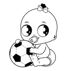 Baby girl holding a soccer ball vector