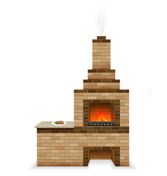 Barbecue oven built of bricks vector