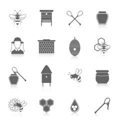 Bee honey icons black set vector image