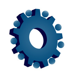 blue gear setting icon vector image