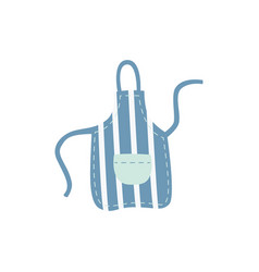 blue kitchen stripe apron with pocket in flat vector image