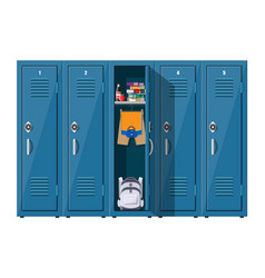 blue metal cabinets with school items vector image