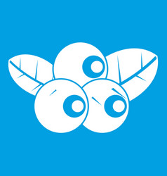 blueberries icon white vector image