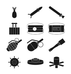 Bomb dynamite and explosive icons set vector image