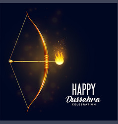 Bow and burning arrow happy dussehra festival vector
