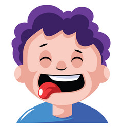 Boy with curly purple hair is craving some food vector