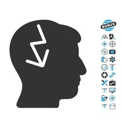 Brain Electric Strike Icon With Air Drone Tools vector