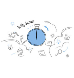 Business task board and daily scrum abstract vector