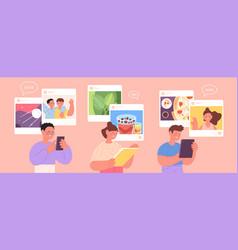 children social media cyber communication kids vector image