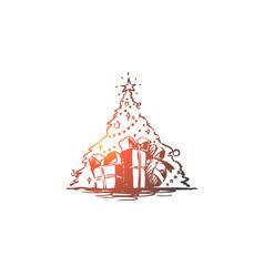 christmas tree gift holiday celebration vector image
