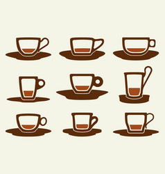 coffee cup set silhouette vector image