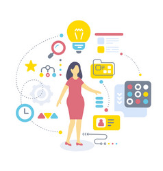 color of standing business woman and icon on vector image