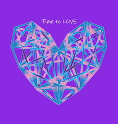 colorful polygon heart icon on proton purple vector image