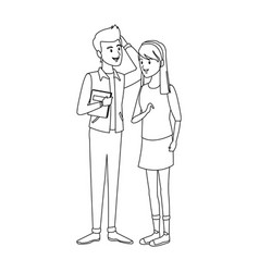 Couple students standing of girl in shorts and vector