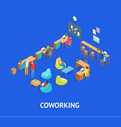 coworking center interior with furniture elements vector image