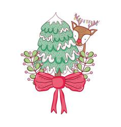 cute christmas reindeer with pine tree vector image