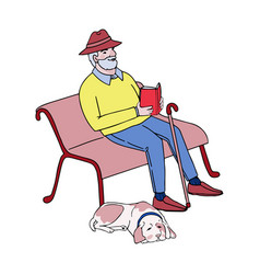 Cute old man sitting on a park bench reading a vector