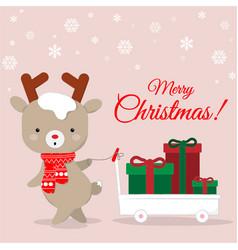 cute reindeer cartoon carrying chirstmas gifts vector image