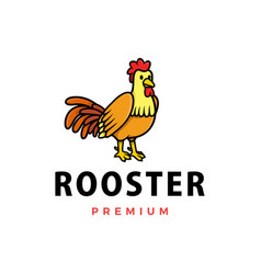 cute rooster cartoon logo icon vector image